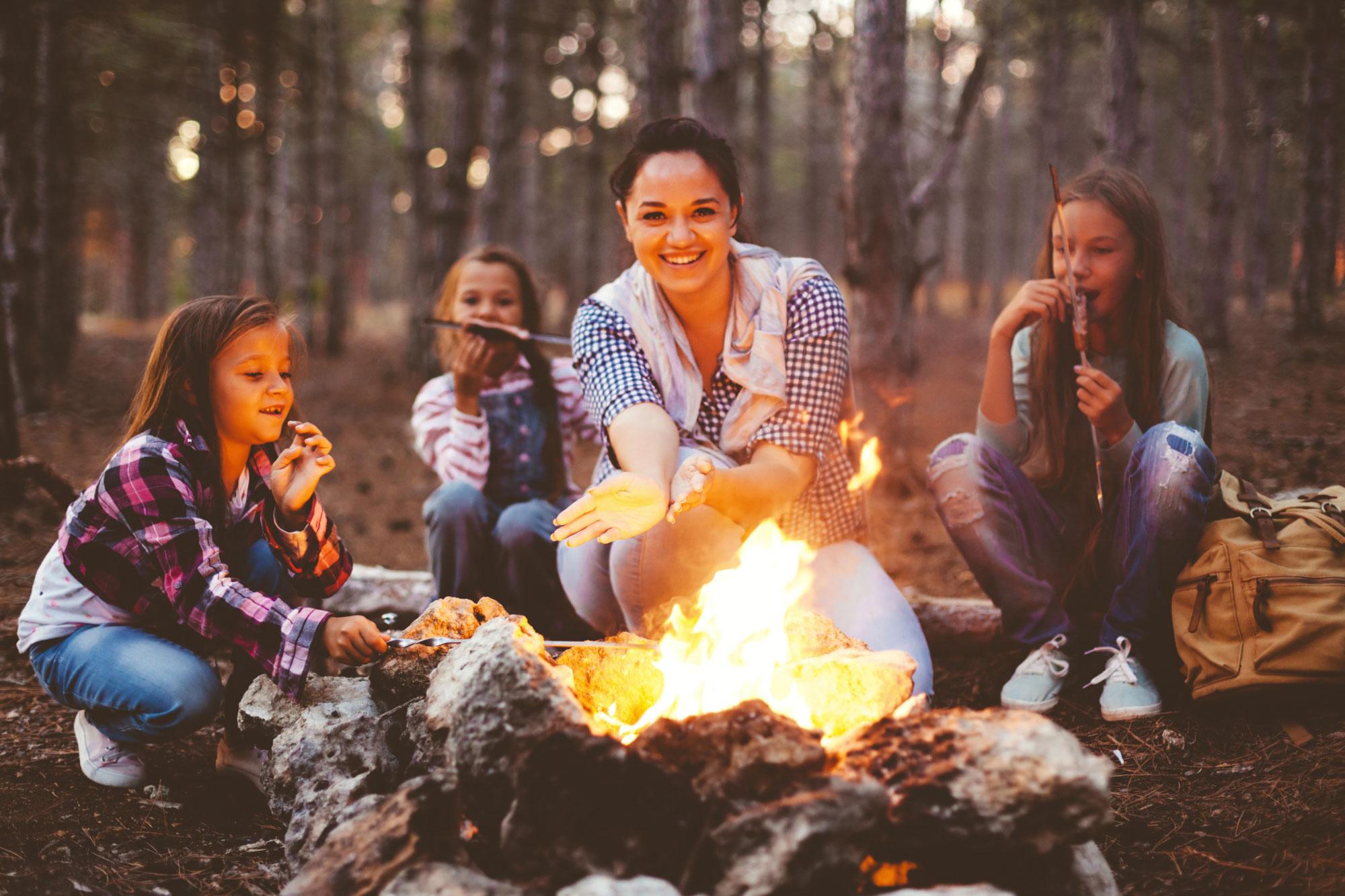 mom kids camp fire